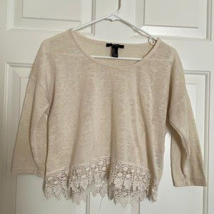 Long Sleeve Crop Top - Laced Bottom